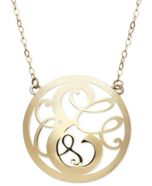14k Gold Necklace, Letter E Scroll Pendant