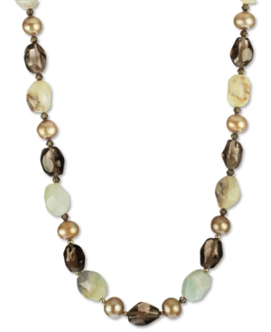 18k Gold over Sterling Silver Necklace, Bronze Culltured Freshwater Pearl and Multistone Necklace