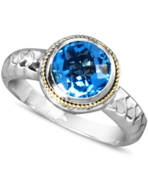 Balissima by Effy Collection Sterling Silver and 18k Gold Ring, Blue Topaz Round Ring (2-1/3 ct. t.w.)