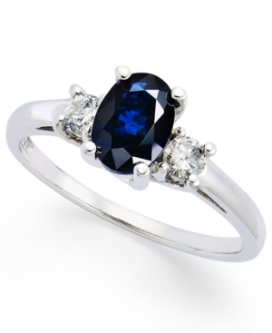 14k White Gold Ring, Sapphire (1-1/8 ct. t.w.) and Diamond (1/5 ct. t.w.) 3-Stone Ring