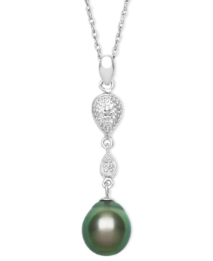 Sterling Silver Necklace, Cultured Tahitian Pearl and Diamond Accent Drop Pendant