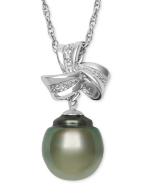 Sterling Silver Necklace, Cultured Tahitian Pearl (9mm) and Diamond Accent Bow Drop Pendant