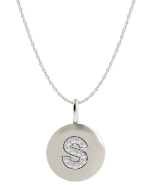14k White Gold Necklace, Diamond Accent Letter S Disk Pendant