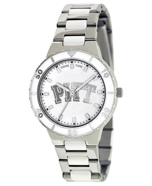 Game Time Watch, Women's University of Pittsburgh White Ceramic and Stainless Steel Bracelet 37mm COL-PEA-PIT