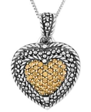 Genevieve & Grace Sterling Silver Necklace, Marcasite and Champagne Crystal Heart Pendant