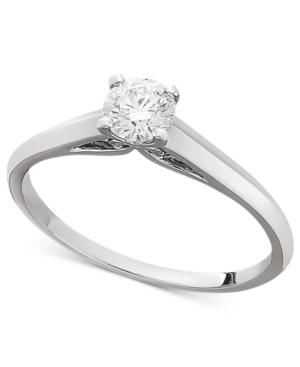 Diamond Ring, 18k White Gold Certified Diamond Solitaire Ring (1/3 ct. t.w.)