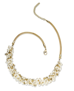 Charter Club Necklace, Gold-Tone Glass Pearl Cluster Necklace