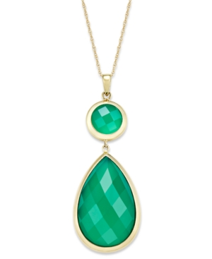 14k Gold Necklace, Faceted Green Onyx Double-Drop Pendant (10-1/2 ct. t.w.)