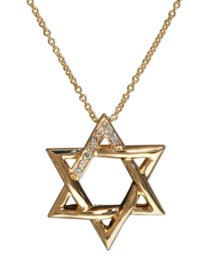 Effy Collection 14k Gold Necklace, Diamond Accent Star of David Pendant