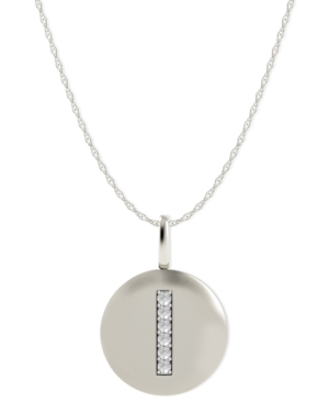 14k White Gold Necklace, Diamond Accent Letter I Disk Pendant