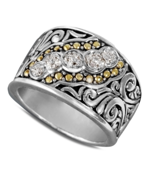 Balissima by Effy Collection Diamond Ring, 18k Gold and Sterling Silver Diamond Swirl Ring (1/10 ct. t.w.)