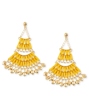Haskell Earrings, Gold-Tone Yellow Bead Chandelier Earrings