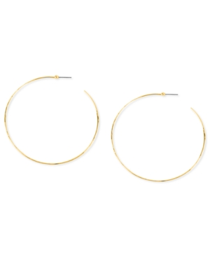 Robert Lee Morris Earrings, Gold-Tone Large Hammered Wire Hoop Earrings