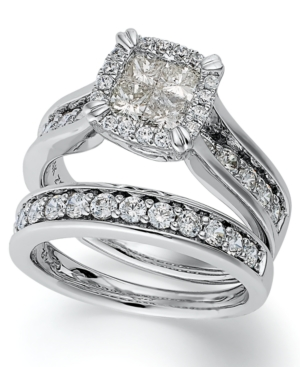 Princess Treasures Diamond Ring, 14k White Gold Princess-Cut Diamond Bridal Set (2 ct. t.w.)