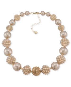 Carolee Necklace, Gold-Tone Imitation Pearl Beaded Statement Necklace