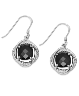 Sterling Silver Earrings, Cushion-Cut Onyx Swirl Earrings (6 ct. t.w.)