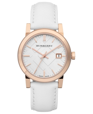 Burberry Watch, Women's Swiss White Leather Strap 34mm BU9108