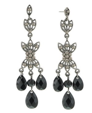 2028 Earrings, Jet Beaded Chandelier Earrings