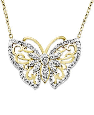 Kaleidoscope 18k Gold over Sterling Silver Necklace, White Crystal Butterfly Pendant with Swarovski Elements