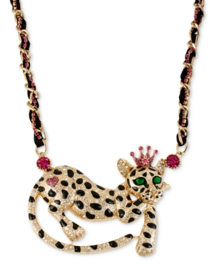 Betsey Johnson Necklace, Antique Gold-Tone Leopard Frontal Necklace