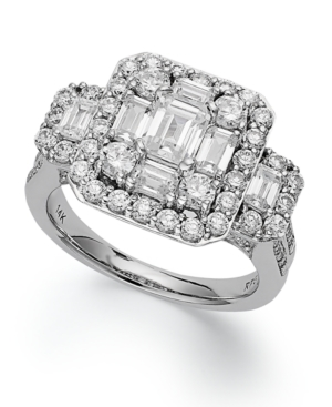 Emerelle Collection Diamond Ring, 14k White Gold Round and Emerald-Cut Diamond Engagement Ring (2-1/2 ct. t.w.)
