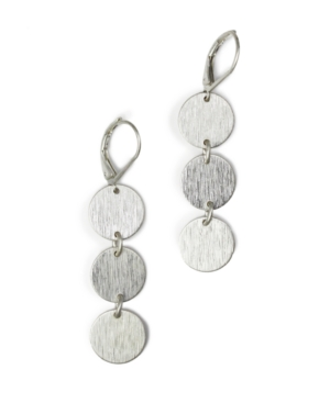 Jones New York Earrings, Silver-Tone Triple Circle Drops