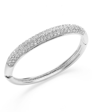 Charter Club Bracelet, Silver-Tone Clear Glass Pave Bangle