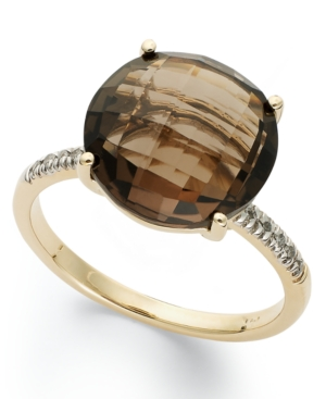 14k Gold Ring, Smokey Topaz (6 ct. t.w.) and Diamond Accent Round Ring