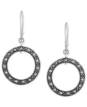 Genevieve & Grace Sterling Silver Earrings, Marcasite Circle Drop Earrings