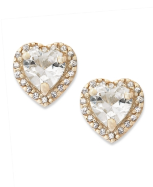 B. Brilliant 18k Gold over Sterling Silver Earrings, Cubic Zirconia Heart Stud Earrings (1-7/8 ct. t.w.)