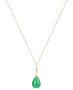 14k Gold Necklace, Cultured Freshwater Pearl (3-1/2-4mm) and Chrysoprase (6-3/4 ct. t.w.) Pendant