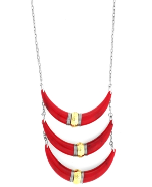 Jessica Simpson Necklace, Two-Tone Red Swag 3-Row Statement Necklace