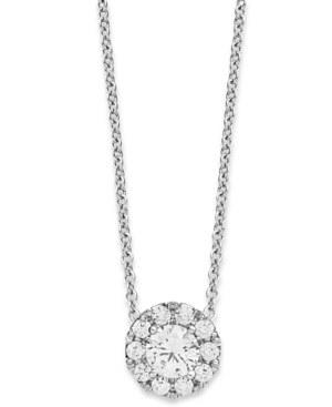 Diamond Necklace, 14k White Gold Diamond Halo Pendant (1/3 ct. t.w.)