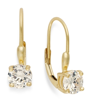 B. Brilliant 18k Gold over Sterling Silver Earrings, Cubic Zirconia Leverback Earrings (1-1/2 ct. t.w.)