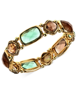 Jones New York Bracelet, Gold-Tone Brown and Erinite Stone Stretch Bracelet