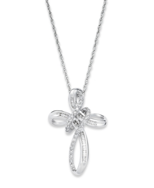 Diamond Necklace, Sterling Silver Diamond Double Cross Pendant (1/3 ct. t.w.)