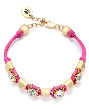 Juicy Couture Bracelet, Gold-Tone Crystal Pyramid Stud Pink Friendship Bracelet