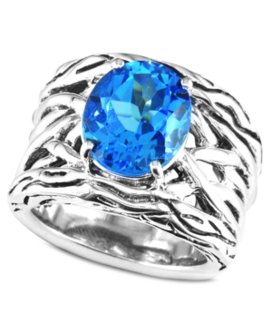 Balissima by Effy Collection Sterling Silver Ring, Blue Topaz Weave Band Ring (5-3/4 ct. t.w.)