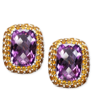 Sterling Silver Earrings, Amethyst (11-1/2 ct. t.w.) and Citrine (4-1/3 ct. t.w.) Button Stud