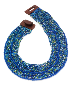 Style&co. Necklace, Blue Green Seed Bead Multi-Strand Necklace
