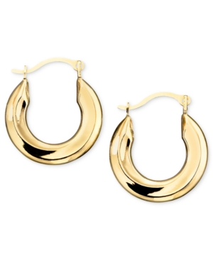 10k Gold Hoop Earrings, Small Polished Tube