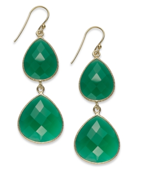 14k Gold over Sterling Silver Earrings, Green Onyx Drop Earrings (18mm x 14mm)