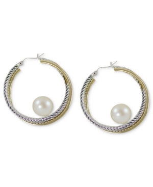 14k Gold and Sterling Silver Earrings, Cultured Freshwater Pearl Hoop Earrings