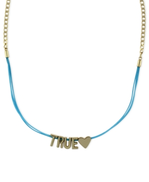 BCBGeneration Necklace, Gold-Tone True Love Mini Affirmation Blue Cord Necklace
