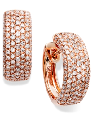 Trio by EFFY Collection Diamond Earrings, 14k Rose Gold Diamond Pave Hoop Earrings (7/8 ct. t.w.)