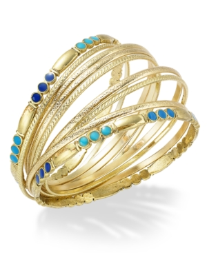 Style&co. Bracelet Set, Gold-Tone Blue Bead Bangle Bracelets