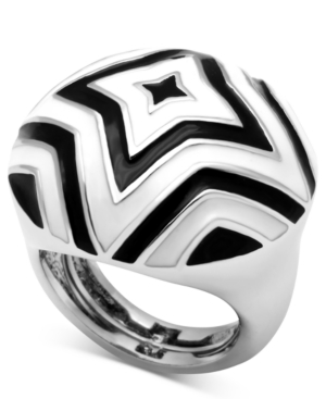 Glitterrings Ring, Silver-Tone Black and White Chevron Star Ring