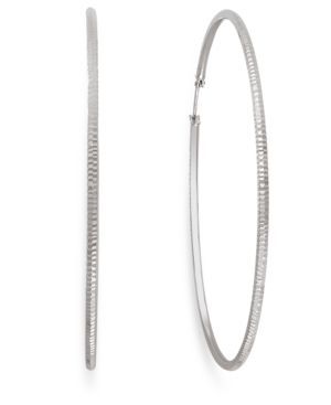 Giani Bernini Sterling Silver Earrings, 70mm Ribbed Hoop Earrings