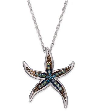 Sterling Silver Necklace, Blue and Green Diamond Accent Starfish Pendant (1/10 ct. t.w.)