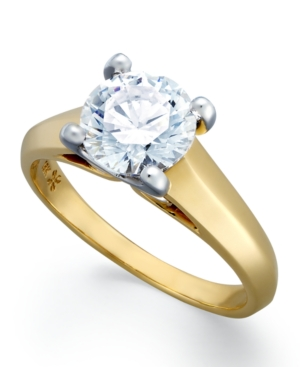 X3 Diamond Ring, 18k Yellow Gold over Platinum Certified Diamond Solitaire Engagement Ring (1-1/2 ct. t.w.)